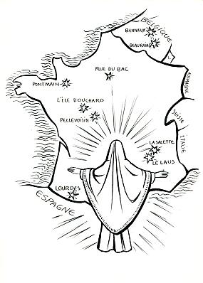 carte apparitions mariales france Carte des apparitions de Marie en France   Transmettre