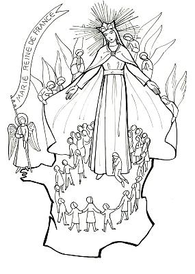 Marie reine de france transmettre - Coloriage marie ...